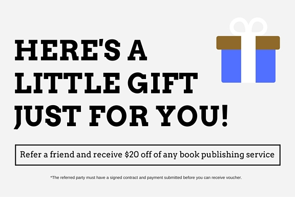 Refer a friend and receive $20 off of any book publishing service